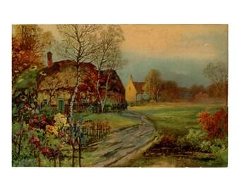 Vintage 1920s Print of Thatched Roof Cottage Village Scene