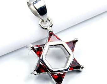 Jewish Star of David Red CZ & .925 Sterling Silver Pendant, T221