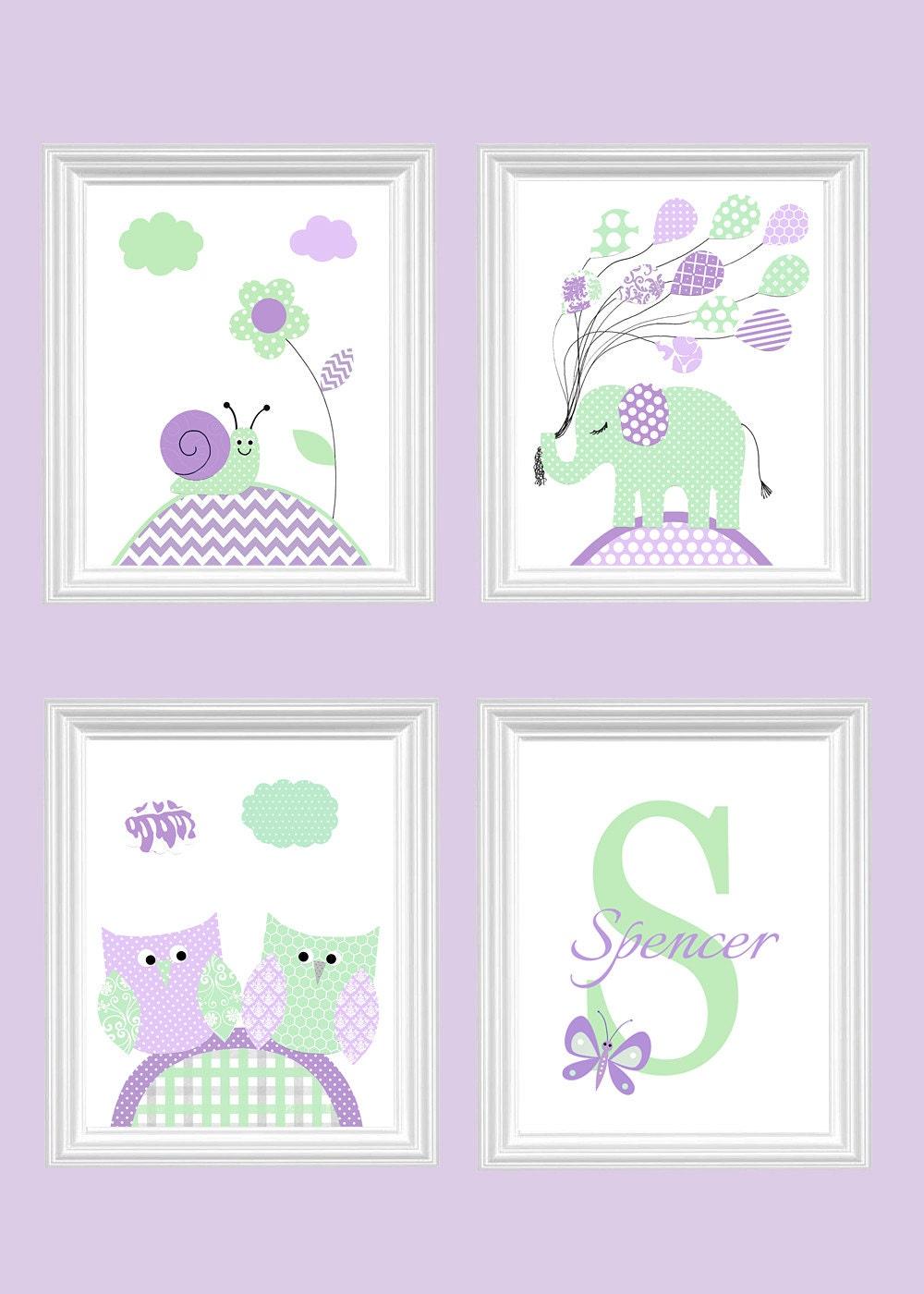 Baby Girl Nursery Art Mint And Purple By Sweetpeanurseryart