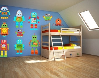 Robot Wall Art - Robot Wall Decal - Boys Room Wall Decal - Boys Room Wall Art