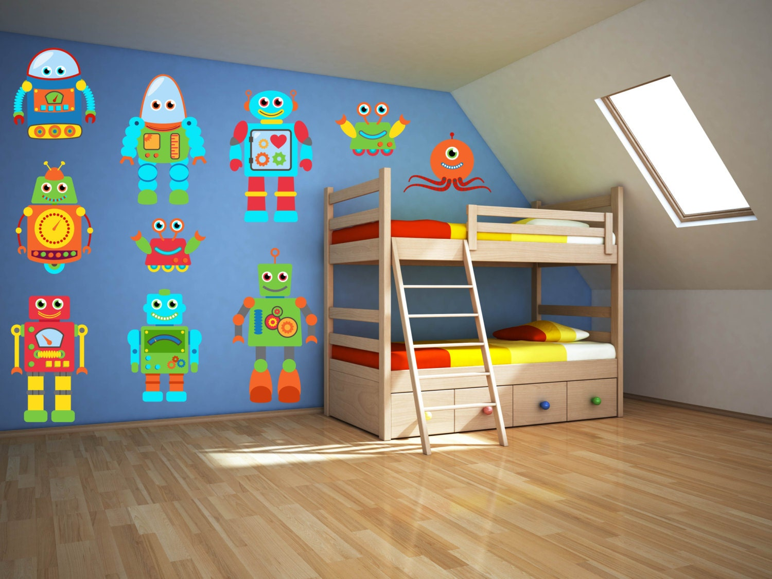 Robot wall art robot wall decal boys room wall decal zoom amipublicfo Gallery