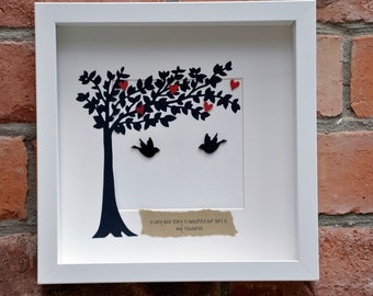 Personalised handmade love birds and hearts in a tree picture. Perfect for weddings, anniversaries and the home