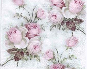4 Decoupage Napkins   Pastel Rose Bouquet   Rose Napkins   Floral Napkins   Napkin Decoupage   Cocktail Paper Napkins for Decoupage