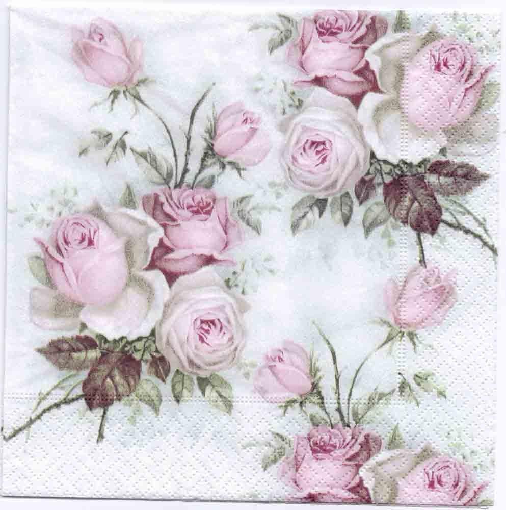 4 Decoupage Napkins Pastel Rose Bouquet Rose Napkins