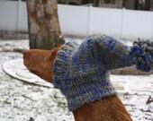 Gray and Blue Chunky Hand Knit Small-Medium Dog Hound Hat - READY TO SHIP