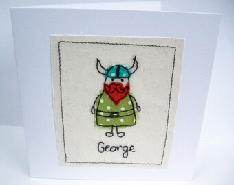 Personalised Machine Embroidered Viking Card - Birthday Card - Paper Handmade Greeting Card - Card for a Boy