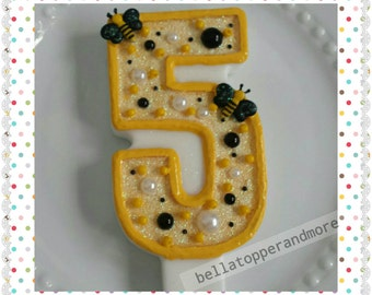 Birthdays number Bee candles. Boys and girls party. Candles number.