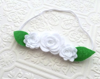 I Felt For You White Flower Trio Headband or Hair Clip