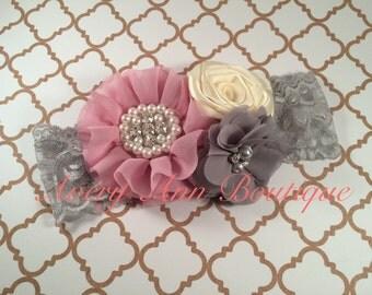 Baby Headband, Newborn Headband, Shabby Chic Headband, Flower Girl Headband, Flower Headband