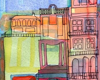 ITALIAN TOWN - Original Watercolour - Contemporary Painting - Italy Painting - Architecture - ElizabethAFox
