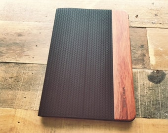 IPAD MINI 1,2,3 CASE in rosewood and black suede leather