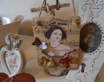 handmade sign hanging wooden sign plaque 3D decoupage butterflies shabby chic french vintage jane austen decor