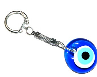 Traditional 3cm Lucky Evil Eye Keyring - Good luck and Protection
