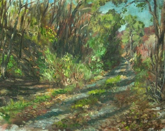 Original Landscape Oil Painting- Trail Behind Sunset