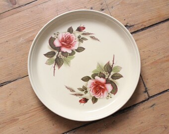 Vintage Hornsea Rose Floral Design Pie Dish Tart Tray Made in England Plate 1970s 1980s Ceramic Serving Plate