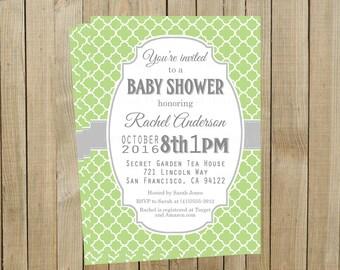 Green Quatrefoil with Gray Baby Shower Invitation, Custom Digital File, Printable
