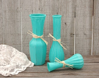 Painted Vases, Shabby Chic, Turquoise, Blue, Aqua, Raffia, Hand Painted, Distressed, Glass, Vase Set,