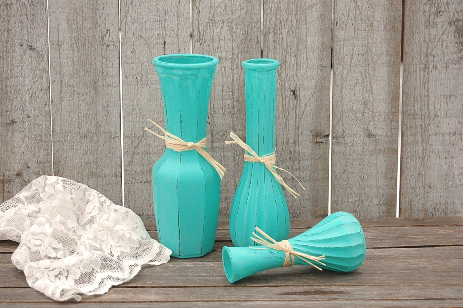 painted vases shabby chic turquoise blue aqua raffia. Black Bedroom Furniture Sets. Home Design Ideas