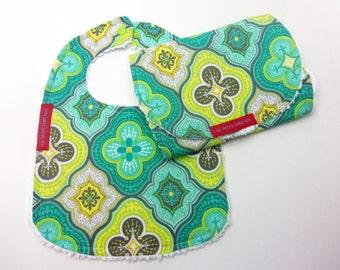 SALE RACK Bib and Burp Cloth Set in Aqua Moroccan Tile - Designer fabric, cotton chenille, neutral, lime, yellow