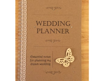 Wedding Planner - VINTAGE Butterfly Lace/Diamante Personalised Brides Note Book Journal (A5)