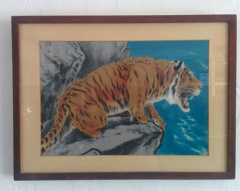 Awesome vintage Chinese tiger lithograph