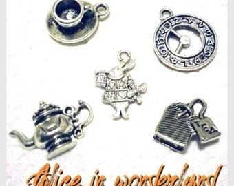 Tibetan silver Pendants Alice in wonderland set 5pcs