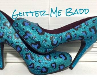 Cheetah print glitter heel-blue and black