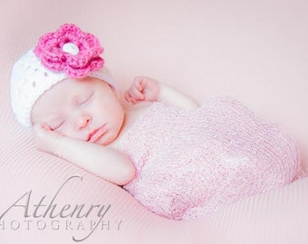 Baby Girl Hat with Pink Flower, Baby Girl Knit Hat, Knit Hat with Flower, Baby Girl newborn photography prop