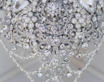 Wedding silver brooch Bouquet. Cascading Silver Brooch Bouquet. Diamante silver Brooch Bouquet.