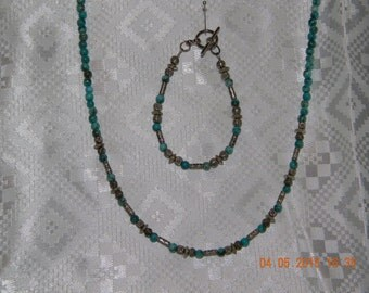 Turquoise and silver necklace and bracelet set
