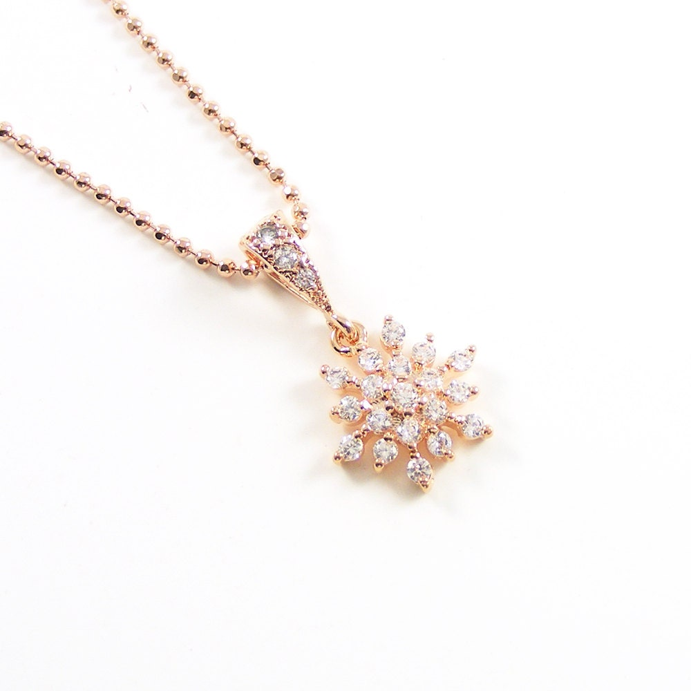Rose Gold Crystal Necklace, Snowflake Pendant, Summer Wedding, Delicate Bridal Jewelry, Bridesmaid Gift