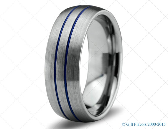 mens wedding band brushed blue titanium carbide unique