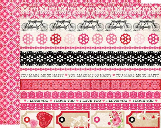 2 Sheets of Echo Park Paper LOVE STORY 12x12 Valentine's Day Scrapbook Paper - Border Strips