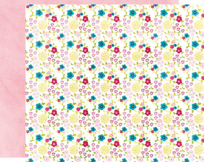 2 Sheets of Echo Park Paper HERE & NOW 12x12 Scrapbook Paper - Flower Patch