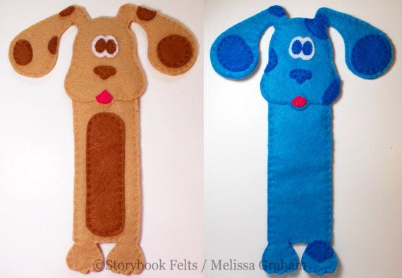 Animal Bookmark Puppy Dog Book Buddy Blue or Brown With Spots Personlized
