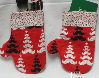 Mustache Mitten Silverware Holder/ Gift Card Holder/ Ornament/ Christmas/ Utensil Holder/ Flatware Holder/ Silverware Pocket/ Table Decor