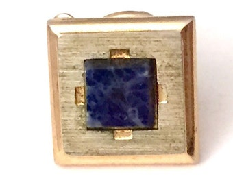 Gold Tone Square with Blue Marble Stone Square Tie Tack, Gold and Blue Tie Tack, Free US Shipping