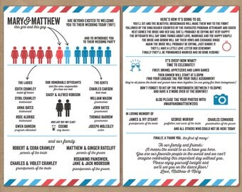 Printable Custom Infographic Wedding Program - Vintage Travel Theme