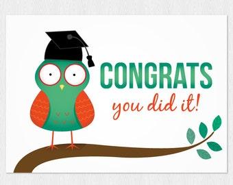 Graduation download card PDF DIY - Greeting card congrats you did it! owl Graduation card - Printable 6x4 inch - cute owl kawaii