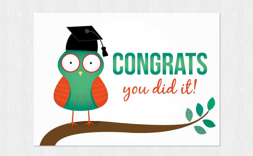 Graduation Download Card PDF DIY Greeting Card Congrats You