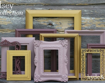 Gallery Wall Picture Frame Set // Marsala // Gold // Plum // Ombre // Home Decor // Shabby Chic Decor // Vintage Upcycled Picture Frames