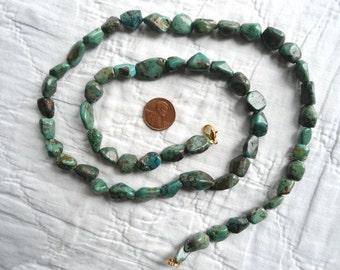 """Turquoise Necklace Long Green Southwest Jewelry Bohemian Hippie Boho Indian Bohemian Gypsy Cowgirl Green Blue Pebble 29"""""""