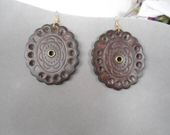 Rustic Boho Earrings Hippie Boho Jewelry Brown Leather Earrings Large Boho Earrings Large Leather Earrings