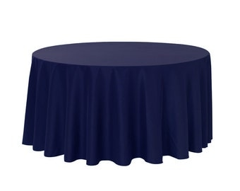 132 Inch Round Polyester Tablecloth Navy Blue   Wedding Tablecloths