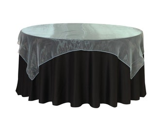 90 inch Square Organza Table Overlay Turquoise   Wedding Table Overlays
