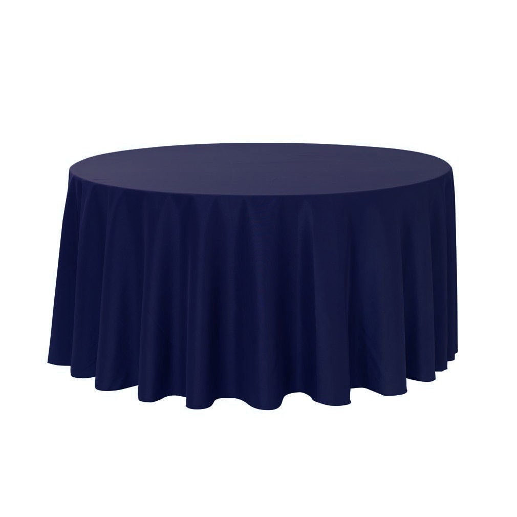 132 Inch Round Polyester Tablecloth Navy Blue Wedding