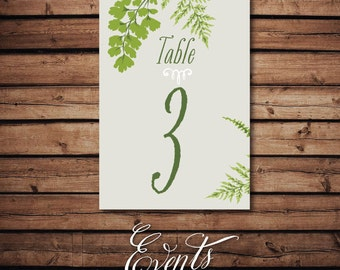 Table Numbers - with ferns