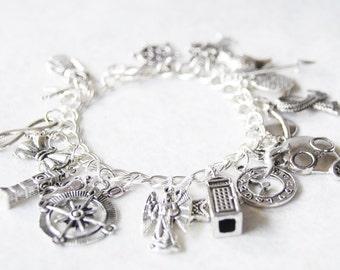 Doctor Who Charm Bracelet / Tardis Bracelet / Doctor Who Bracelet / Dr. Who Inspired Jewelry / Dr. Who Gift / Dalek