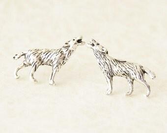 Wolf Earrings / Silver Wolf Earrings / Fantasy Wolf Earrings