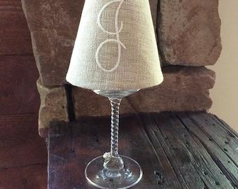 Monogrammed Burlap Wine Glass Shade